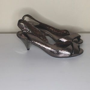 Sam Edelman Cracked Metallic Kittenheel Sling Sz10